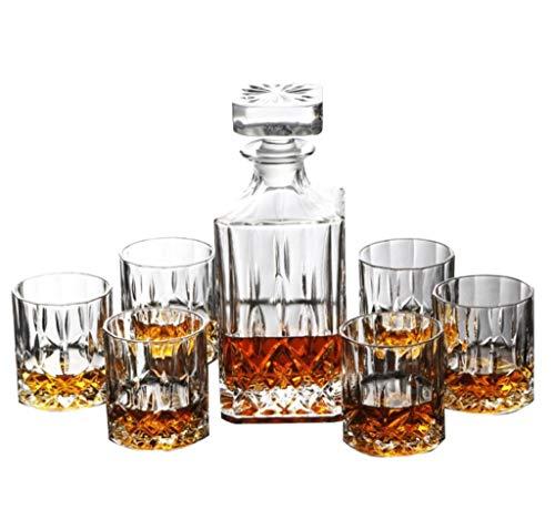YYCDD Juego de Copas de Vino sin Tallo de la Moda, Juego de 7 Piezas - Copa de Cristal, Juego de Copa de Whisky Bodega de Vino Paquete de Regalo de Jarra de Cerveza
