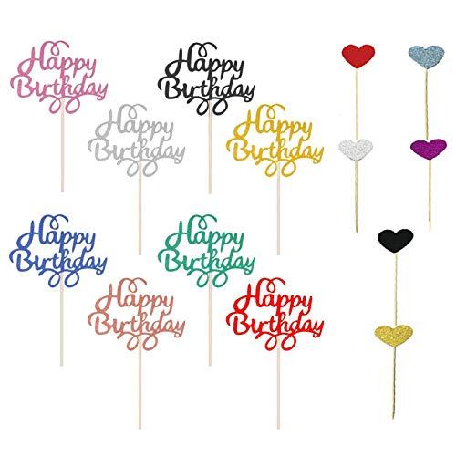 JIASHA Happy Birthday Cake Topper(30 Pezzi)+ Cupcake Topper-A Forma di Cuore(30 Pezzi)per Matrimonio Compleanno Baby Shower Party Decorazioni per Torte di San Valentino
