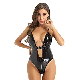 TSSOE Women's Wet Look Leather Bodysuit Spaghetti Straps Deep V Plunging Leotard Clubwear
