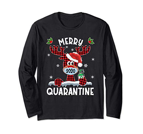 Merry Quarantine Christmas 2020 Reindeer Mask Family Pajamas Long Sleeve T-Shirt