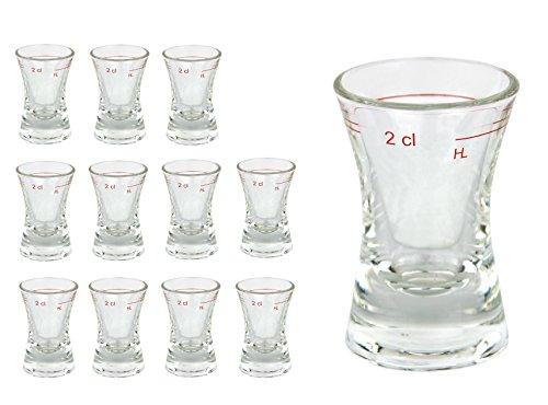 12er Set Schnapsglas WACHTMEISTER mit Eichstrich, 2 cl, geeicht, konkaves Spirituosenglas mit Füllstrich, Stamper, Shot Glas, hochglänzendes Markenglas, glasklar