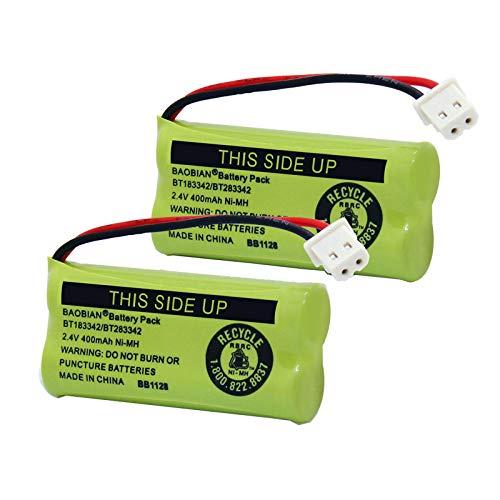 BAOBIAN BT183342/BT283342 2.4V 400mAh Ni-MH BT166342/BT266342 BT162342/BT262342 Cordless Phone Battery CS6709 CS6609 CS6509 CS6409 EL52100 EL50003 (2 Pack)