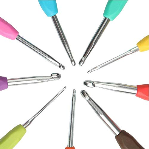 Crochet Hook Set (9pc) Comfort Handle Soft Grip Crochet Hooks Kit | Smooth Needles for Superior Results | All Patterns and Yarns | Standard Sizes (A)2mm - (I)6mm | Perfect for Arthritic Hands