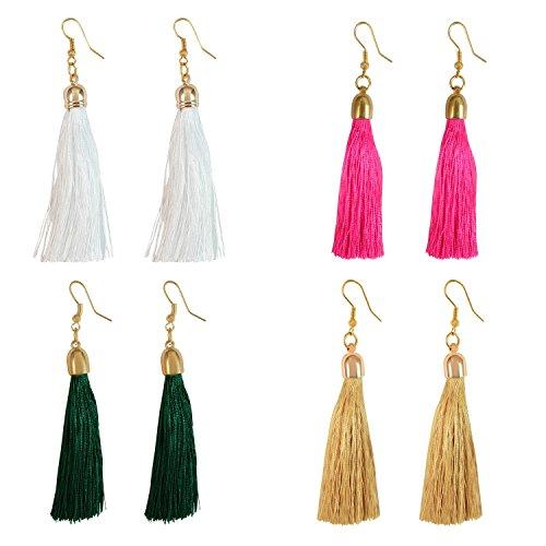 I Jewels Combo de pendientes de borla de cuerda tribal para mujer (E2553CO)
