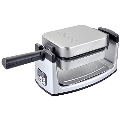 H.Koenig GFX360 wafelijzer, 180 graden draaimechanisme, anti-aanbaklaag, Belgische wafels, 1000 W, roestvrijstalen behuizing, zilver