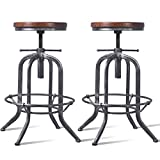 Diwhy Industrial Vintage Kitchen Bar Stools,Farmhouse Round Wood , Stylish Swivel Bar Stool,Kitchen bar Height Adjustable Stool,Fully Welded,Extra Tall Pub Height 20.5-27.2 Inch Set of 2