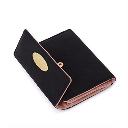 Damen Geldbörse Klein Portemonnaie für Frauen Leder Geldbeutel Damen Brieftasche Damen Kurz mit Münzen Taschen Geld Organisator Und Kartenhalter (Black)