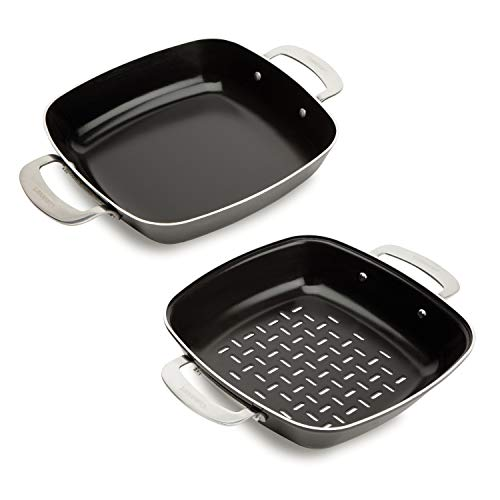 Cuisinart CGT-600 Cookware, Inch, Non-Stick Grilling Pan Set, 9 x 9 x 2