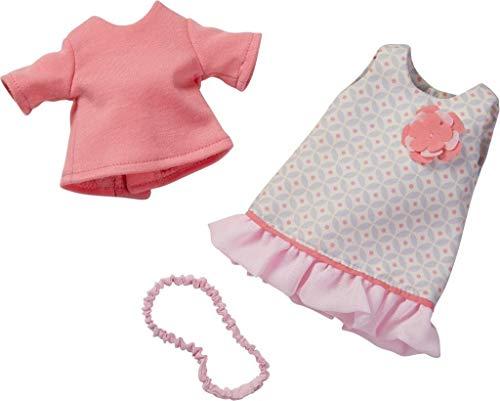HABA 304583 - Kleiderset Sommertraum, Puppenzubehör für 32 cm große HABA-Puppen, Set aus Kleid, T-Shirt und Haarband, Spielzeug ab 18 Monaten