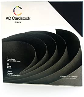 12 x 12-inch Black AC Cardstock Pack by American Crafts | Includes 60 sheets of heavy weight, textured black cardstock