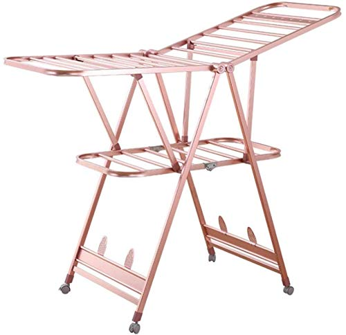 Home Equipment Electric Heated Clothes Airer Dryer Clothes Dryer Rack Drying Rack Floor Folding Indoor And Outdoor Balcony Aluminum Alloy Clothes Rail Foldable Indoor Airer (Color : Rose gold Size