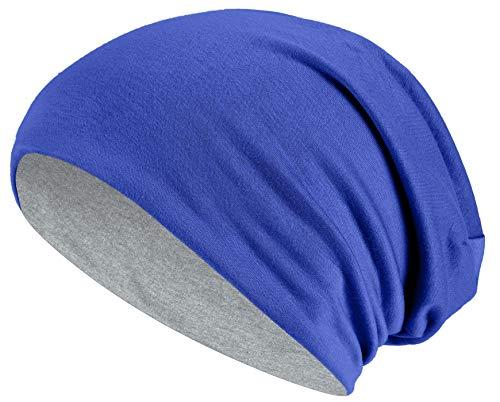 Hatstar Slouch Long Beanie 2in1 Reversible Jersey Mütze in 44 Farben (royal/hellgrau)