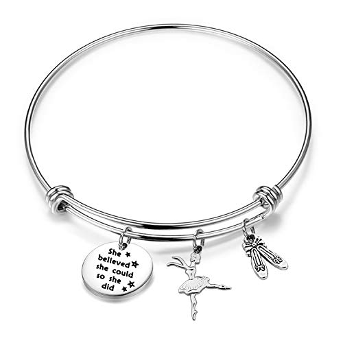 "Collana da danza con scritta in lingua inglese ""She Believed She Could So She Did"", gioielli per ballerina e ballerina, idea regalo (braccialetto, n)"