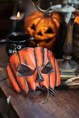 Jack O Lantern Pumpkin Leather Mask Spooky Halloween Creepy