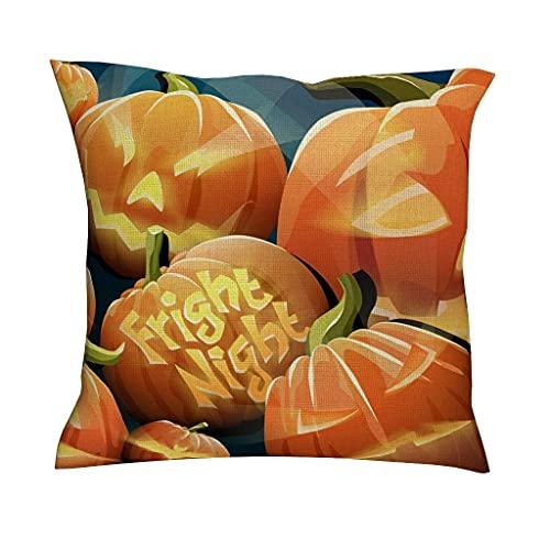 AlineAline Funda de cojín para Halloween, diseño de faroles de calabaza, color naranja, diseño cuadrado, decorativo, para el hogar, sofá, cama, coche, 45,7 x 45,7 cm