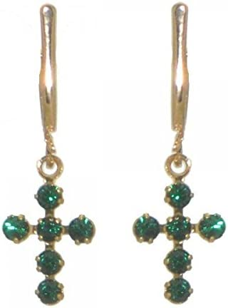 LA CROIX gold plated bright green crystal cross clip on earrings