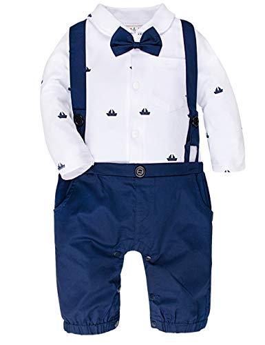A&J Design Baby Jungen Gentleman Strampler Partei Overall mit Krawatte (Blau, 9-12 Monate)