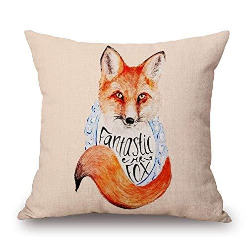 Gxdchfj Throw Kissen Covers Animal Series Lovely Fox Throw Kissen Case Cushion Cover Decorative Cotton Linen Kissencase Sofa Home Decor