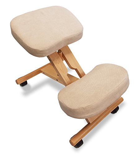 Ergonomic Kneeling Chair-Premium Artisan Design by Healthy Back. Variable Angle for Improved Back and Posture Support - Solid Wood with Breathable Fabric (Creme) Home, Work, Office Posture Chair