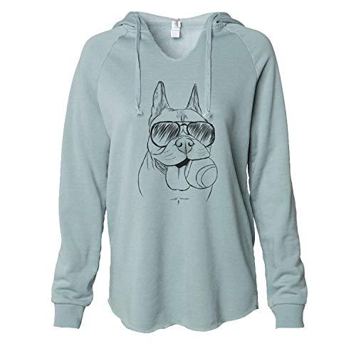 Inkopious Aviator Happy Franco The French Bulldog - Women's Cali Wave Hooded Sweatshirt -Sage Large
