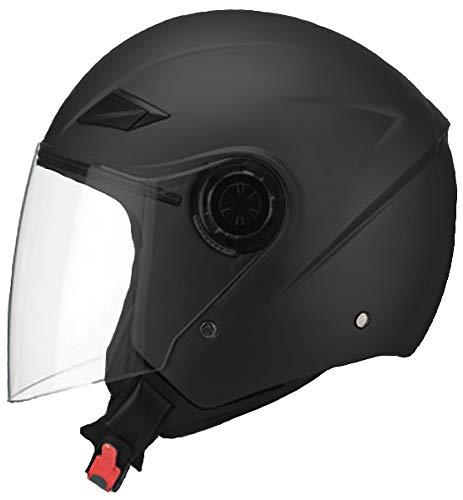 Jethelm Helm Motorradhelm RALLOX 702 matt schwarz mit Langvisier Größe M