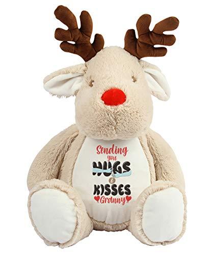 Mother's Day Sending You Hugs and Kisses Granny Teddy Bear Soft toys Anniversary Secret Santa Birthday Present. (Reindeer)