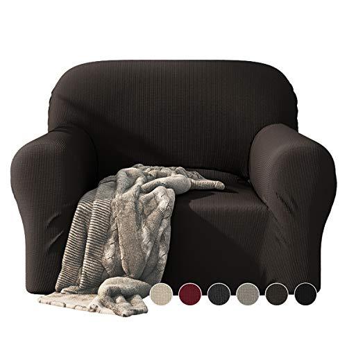 Dreamzie - Sofabezug 1 Sitzer Elastische - Braun - Oeko-TEX® - Sofa Überzug Dehnbarer aus Recycelter Baumwolle - Made in Europe