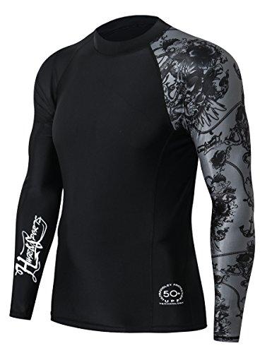 HUGE SPORTS Men's Splice UV Sun Protection UPF 50+ Skins Rash Guard Long Sleeves(Black, S)