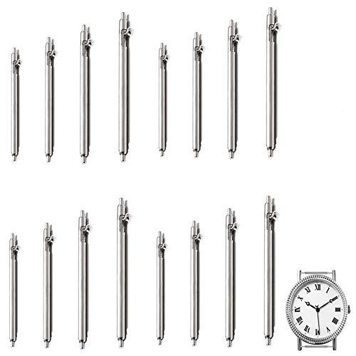16 pasadores de reloj de liberación rápida de acero inoxidable para correa de reloj de 1,5 mm de diámetro