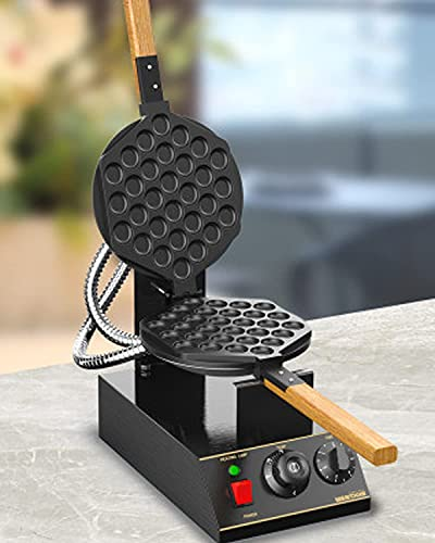 WantJoin Electric Bubble Waffle Maker, 13.4inX12.6in Commercial Waffle Machine, Non-Stick Time Temperature Control Black