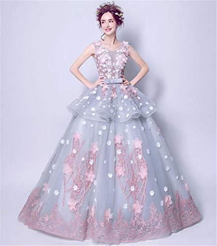 LYJFSZ-7 Hochzeitskleid,Halbmond Grau Blau Romantisch Rosa Spitze Doppelrock Ärmelloses Brautkleid Nicht-benutzerdefinierte No. 07448