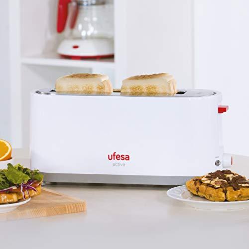 Ufesa Tostador TT7365, potencia 900W, 3 funciones: Descongelar, recalentar y cancelar, con bandeja recogemigas y selector electrónico de