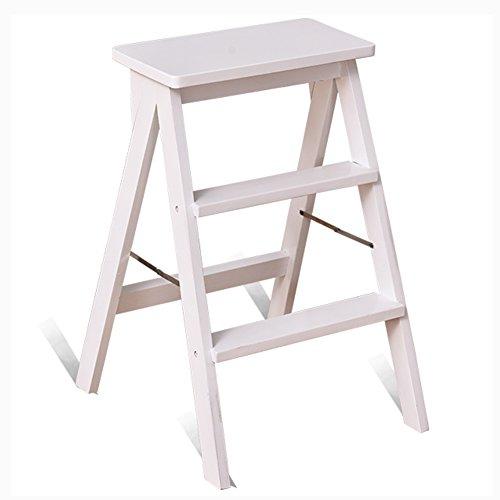 BJL-Step Hocker Folding Step Hocker - 3 Schritt Hocker Massivholz Haushalt Küche Climb Hocker Folding Holzleiter Wohnzimmer Portable Dual-Use-Stuhl OYO (Color : White)