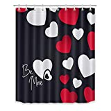 LB Patriotic Love Theme Shower Curtain Set Red and White Hearts in Black Bathroom Curtain with Hooks 60x72 inch Waterproof Polyester Fabric Bathroom Decorations