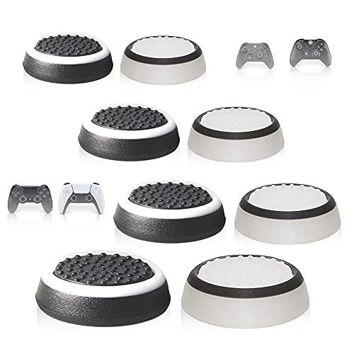 MatoSan® Kappen Zubehör Set | Aim Kontrolle & Assist für PS5 PS4 Xbox One Series Switch Controller Sticks | FPS Boost Grip | 8x Black & White Joystick Aufsätze