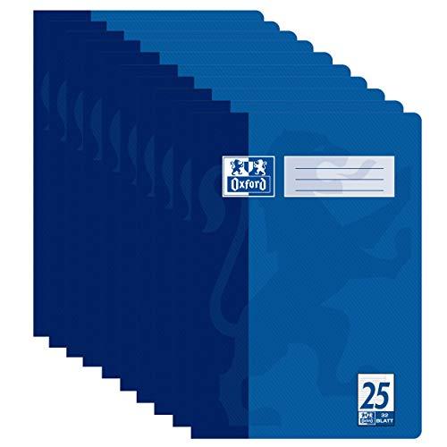 Oxford Schulheft A4, liniert mit Rand, Lineatur 25, 32 Blatt, hochwertiges 90 g/m² Papier, blau, 10er Pack
