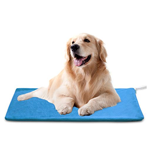 Pet Heating Pad ,Dog Cat Heating pad Indoor Waterproof,Auto Constant Temperature Warming 15x24 inches Bed with Chew Resistant Steel Cord