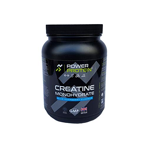 POWER PROTEIN Creatine Monohydrate, 100% Pure Creatine Monohydrate, Blue Raspberry, 500 g