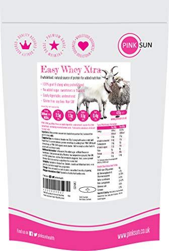 PINK SUN Poudre de Concentré de Protéine de Lait de Chèvre et de Mouton 420g (ou 1 kg) Non Dénaturé non Aromatisé Sans Soja Easy Whey Xtra Goat Sheep Whey Protein Concentrate Powder