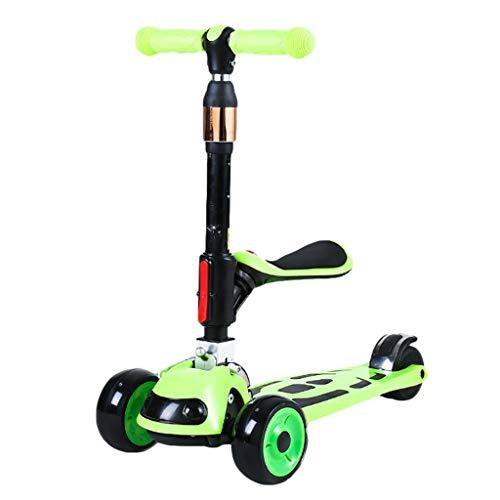 Patinete Patear Scooters para Niños Scooter para Niños con Asiento Plegable Altura Ajustable Magro para Dirigir Scooter para Niños de 1 A 14 Años (Color : Green)