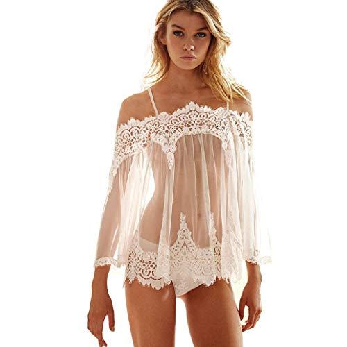 MORCHAN Femmes Lingerie Babydoll vêtements de Nuit sous-vêtements en Dentelle Robe de Nuit + String(Taille Asiatique: M,Blanc)