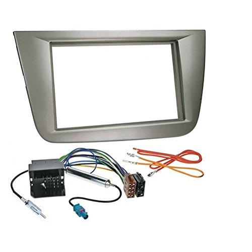 KIT de montaje para radio de coche con marco de radio 2 DIN para SEAT ALTEA y ALTEA XL/TOLEDO, color GRIS