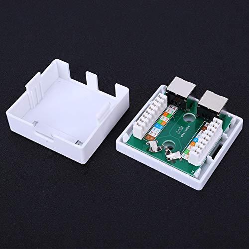 Jeanoko Desktop Box 5 Shield 2 Puertos Networking Wall Plates Diseño Flexible Tornillos incorporados Caja de Montaje RJ45-8P8C para la conexión del zócalo de comunicación Expansión de la Red
