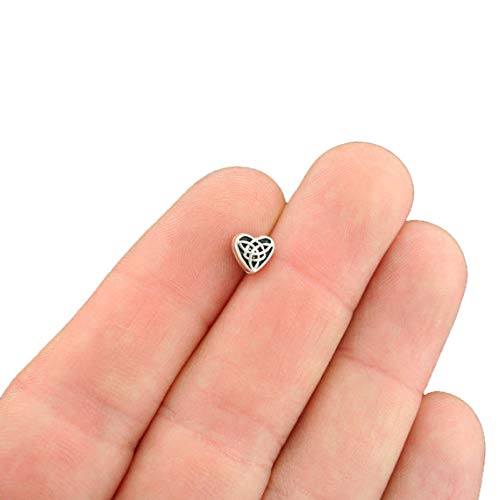 50 Celtic Heart Spacer Beads 2 Sided 6.5mm x 6.1mm - SC7572