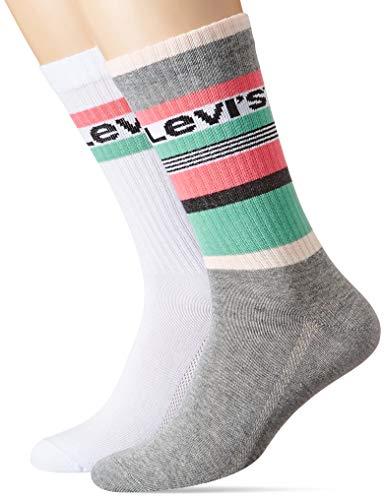 Levi's Herren Levis Regular Cut Stripe Blocks 2P Socken, Mehrfarbig (Pink Combo 010), 39/42 (Herstellergröße: 039) (2er Pack)