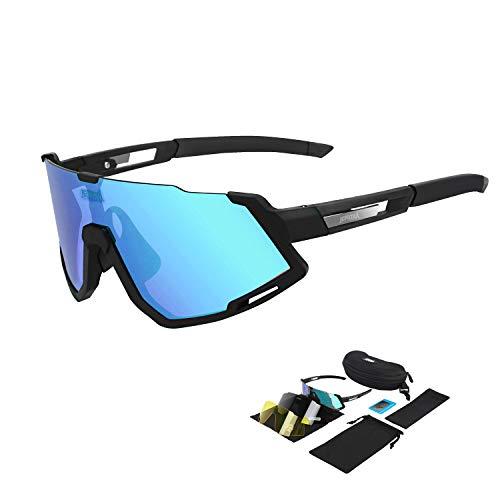 JEPOZRA Gafas de Sol Deportivas polarizadas con 3 Lentes Intercambiables, Gafas de Ciclismo para Hombres y Mujeres, Gafas de Bicicleta Gafas de Sol de Bicicleta para Conducir Ciclismo Correr Pesca
