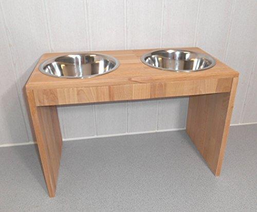 -Buche- Futternapf / Hundenapf für Ihren Vierbeiner, tolle Futterbar mit 2 Edelstahlnäpfen mit je 1500 ml. Handgefertigtes Hundezubehör und Tierbedarf. Lackierung in Klarlack! (8Sic)