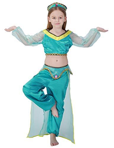 A&J DESIGN Costume di Festa di Compleanno delle Ragazze Costume di Danza del Ventre Bambini Cosplay Principessa Arabo Dancewear Lucido Carnevale Outfit (Blu, L/130-140 CM)