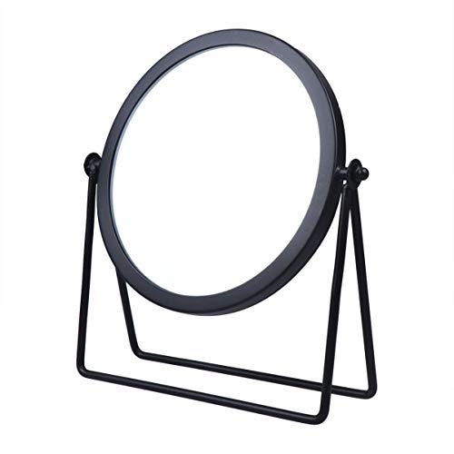 Lurrose Schminkspiegel Einseitig Runder Tischspiegel Metallrahmen Drehbarer Kosmetikspiegel für Tisch (Schwarz)