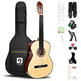 vangoa 4/4 chitarra classica 39 pollici dreadnought chitarra spagnola acustica con corde in nylon, kits per principianti, naturale